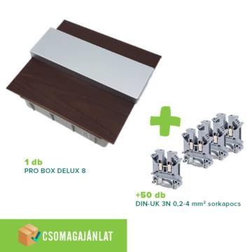 SET4 PRO BOX DELUX 8 modulos süllyesztett elosztó doboz Wenge+DIN-UK 3N 0,2-4mm2 sorkapocs