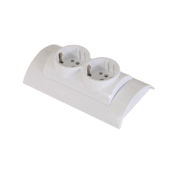 DUO 250V 16A 2-es falon kívüli hálózati elosztó Fehér
