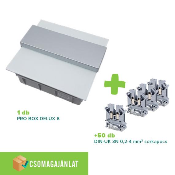 SET1 PRO BOX DELUX 8 modulos süllyesztett elosztó doboz Fehér+DIN-UK 3N 0,2-4mm2 sorkapocs