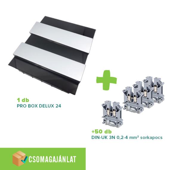 SET10 PRO BOX DELUX 24 modulos süllyesztett elosztó doboz Fekete+DIN-UK 3N 0,2-4mm2 sorkapocs