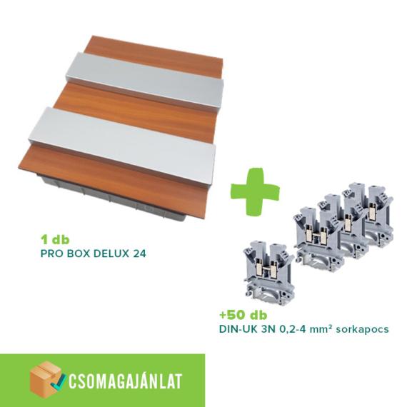 SET11 PRO BOX DELUX 24 modulos süllyesztett elosztó doboz Tölgy+DIN-UK 3N 0,2-4mm2 sorkapocs