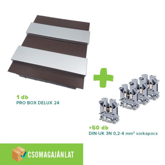 SET12 PRO BOX DELUX 24 modulos süllyesztett elosztó doboz Wenge+DIN-UK 3N 0,2-4mm2 sorkapocs