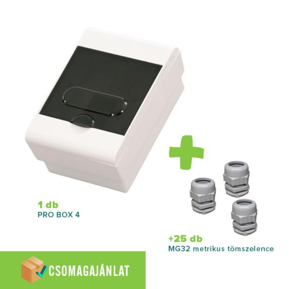 SET13 PRO BOX 4 modulos falon kívüli elosztó doboz Fehér+MG-32 metrikus tömszelence
