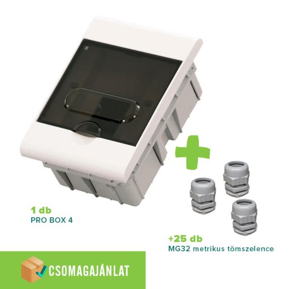 SET14 PRO BOX 4 modulos süllyesztett elosztó doboz Fehér+MG-32 metrikus tömszelence