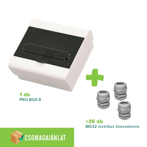 SET15 PRO BOX 8 modulos falon kívüli elosztó doboz Fehér+MG-32 metrikus tömszelence