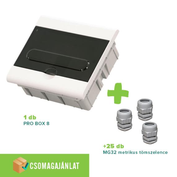 SET16 PRO BOX 8 modulos süllyesztett elosztó doboz Fehér+MG-32 metrikus tömszelence