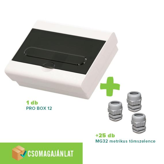 SET17 PRO BOX 12 modulos falon kívüli elosztó doboz Fehér+MG-32 metrikus tömszelence