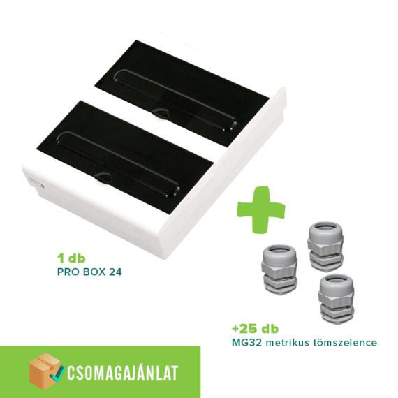 SET19 PRO BOX 24 modulos falon kívüli elosztó doboz Fehér+MG-32 metrikus tömszelence