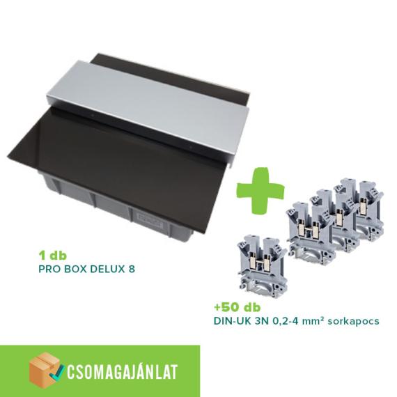 SET2 PRO BOX DELUX 8 modulos süllyesztett elosztó doboz Fekete+DIN-UK 3N 0,2-4mm2 sorkapocs