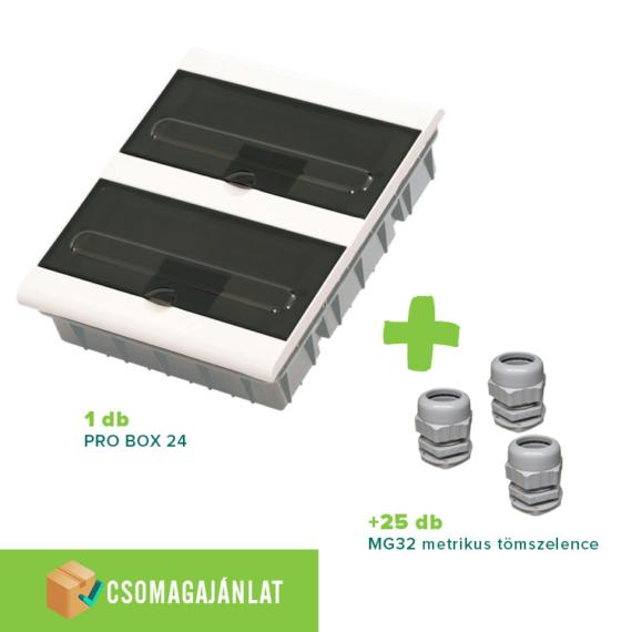 SET20 PRO BOX 24 modulos süllyesztett elosztó doboz Fehér+MG-32 metrikus tömszelence
