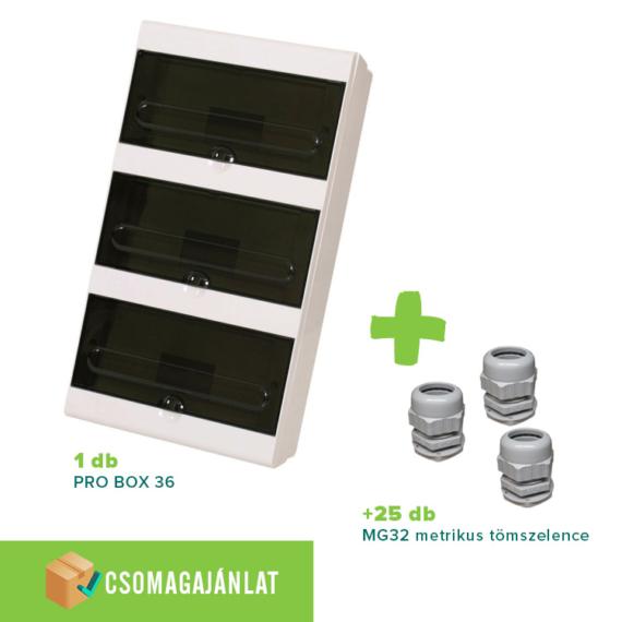 SET21 PRO BOX 36 modulos falon kívüli elosztó doboz Fehér+MG-32 metrikus tömszelence