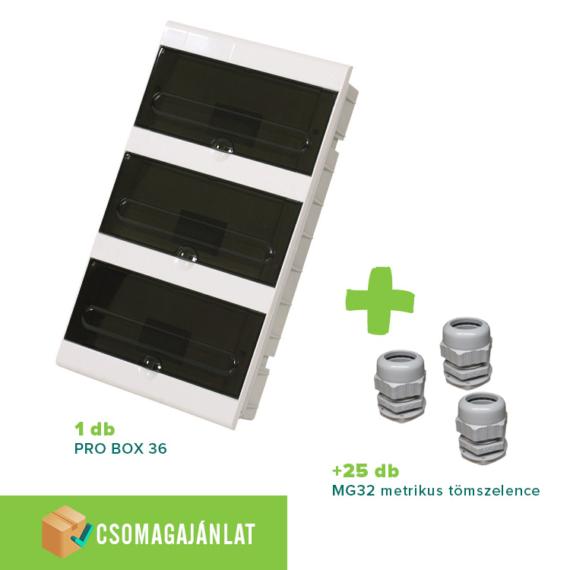 SET22 PRO BOX 36 modulos süllyesztett elosztó doboz Fehér+MG-32 metrikus tömszelence
