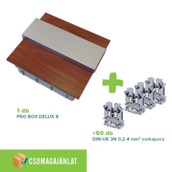 SET3 PRO BOX DELUX 8 modulos süllyesztett elosztó doboz Tölgy+DIN-UK 3N 0,2-4mm2 sorkapocs