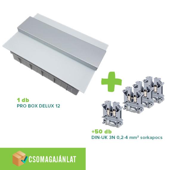 SET5 PRO BOX DELUX 12 modulos süllyesztett elosztó doboz Fehér+DIN-UK 3N 0,2-4mm2 sorkapocs