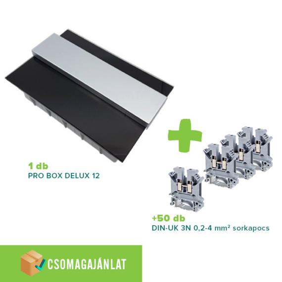 SET6 PRO BOX DELUX 12 modulos süllyesztett elosztó doboz Fekete+DIN-UK 3N 0,2-4mm2 sorkapocs