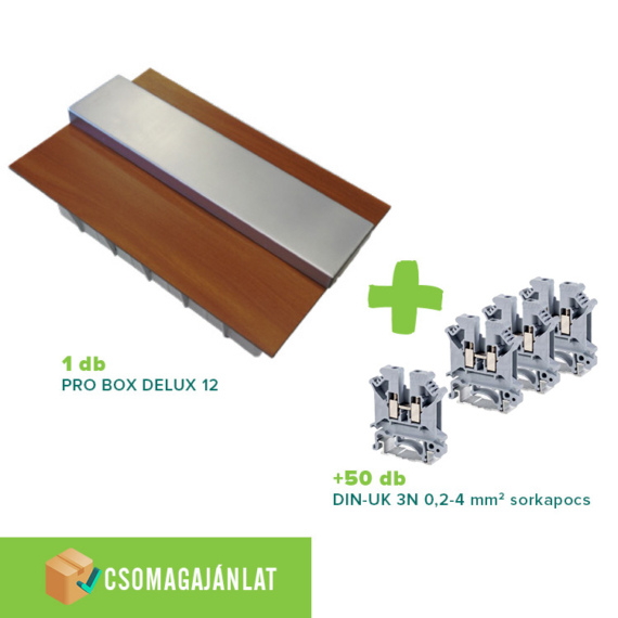 SET7 PRO BOX DELUX 12 modulos süllyesztett elosztó doboz Tölgy+DIN-UK 3N 0,2-4mm2 sorkapocs