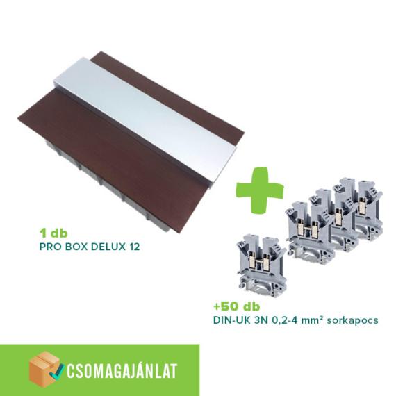 SET8 PRO BOX DELUX 12 modulos süllyesztett elosztó doboz Wenge+DIN-UK 3N 0,2-4mm2 sorkapocs