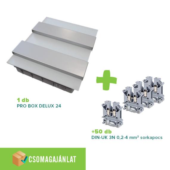 SET9 PRO BOX DELUX 24 modulos süllyesztett elosztó doboz Fehér+DIN-UK 3N 0,2-4mm2 sorkapocs